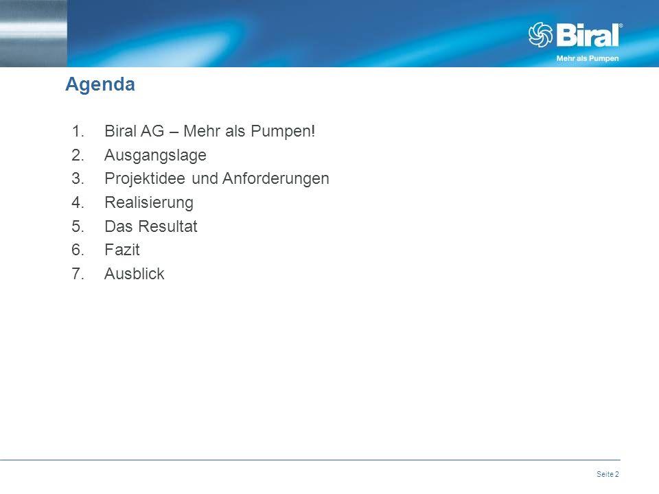 Seite 2 Agenda 1.Biral AG – Mehr als Pumpen.