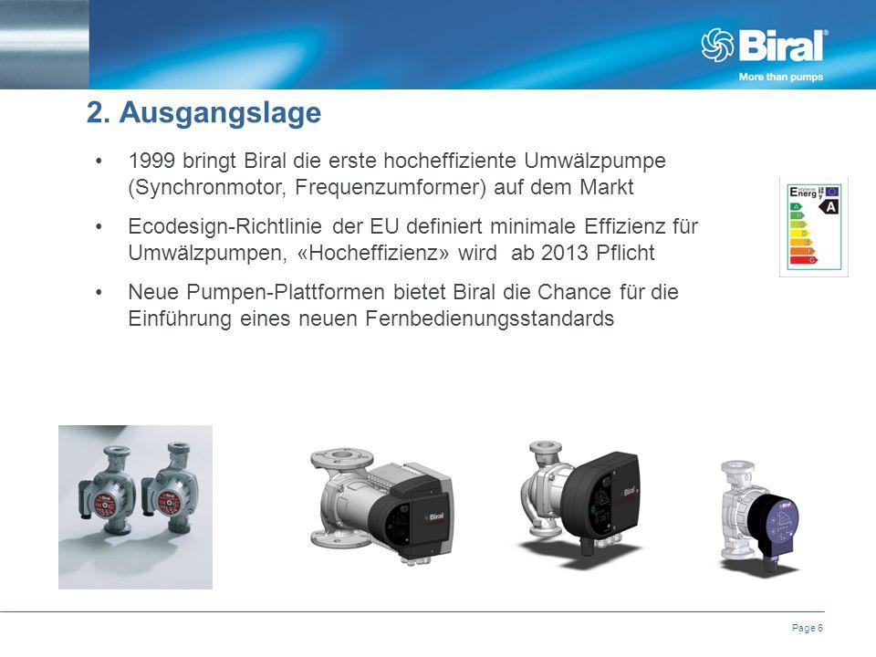 Page 6 1999 bringt Biral die erste hocheffiziente Umwälzpumpe (Synchronmotor, Frequenzumformer) auf dem Markt Ecodesign-Richtlinie der EU definiert minimale Effizienz für Umwälzpumpen, «Hocheffizienz» wird ab 2013 Pflicht Neue Pumpen-Plattformen bietet Biral die Chance für die Einführung eines neuen Fernbedienungsstandards 2.