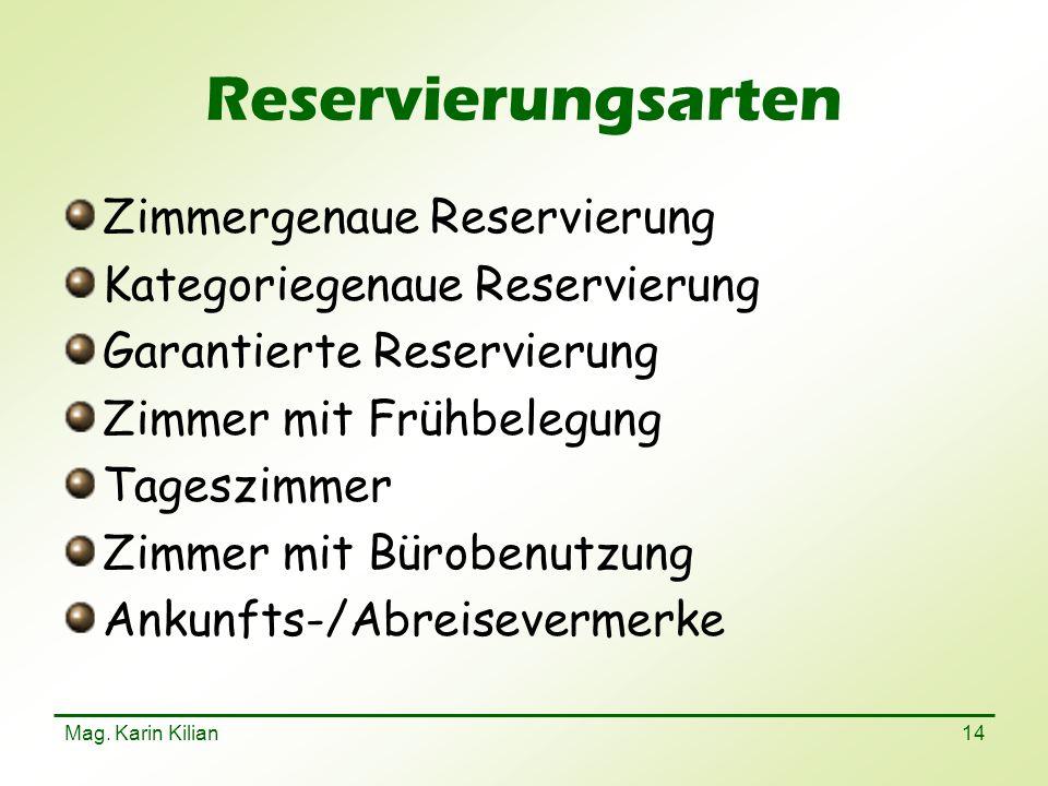 Mag. Karin Kilian 14 Reservierungsarten Zimmergenaue Reservierung Kategoriegenaue Reservierung Garantierte Reservierung Zimmer mit Frühbelegung Tagesz
