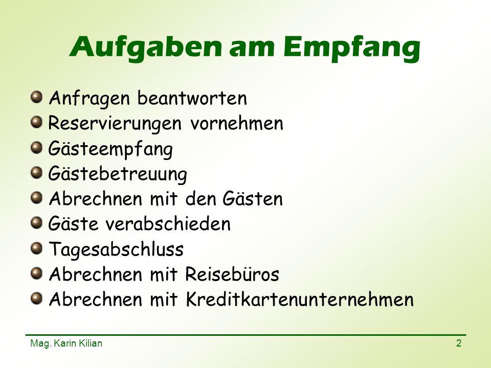 Mag. Karin Kilian 23 Meldeschein/Gästeblatt