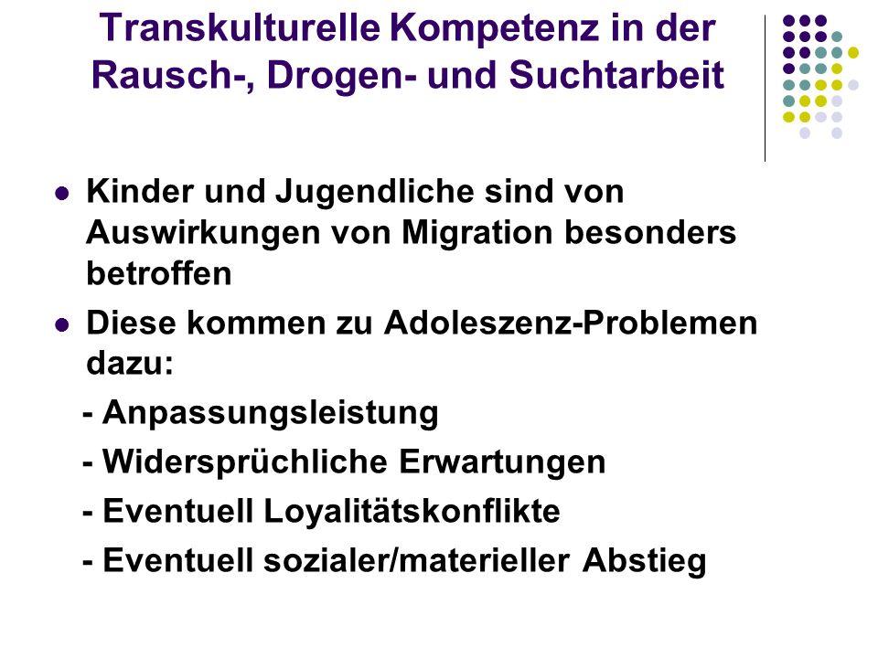 Transkulturelle Kompetenz in der Rausch-, Drogen- und Suchtarbeit Kinder und Jugendliche sind von Auswirkungen von Migration besonders betroffen Diese