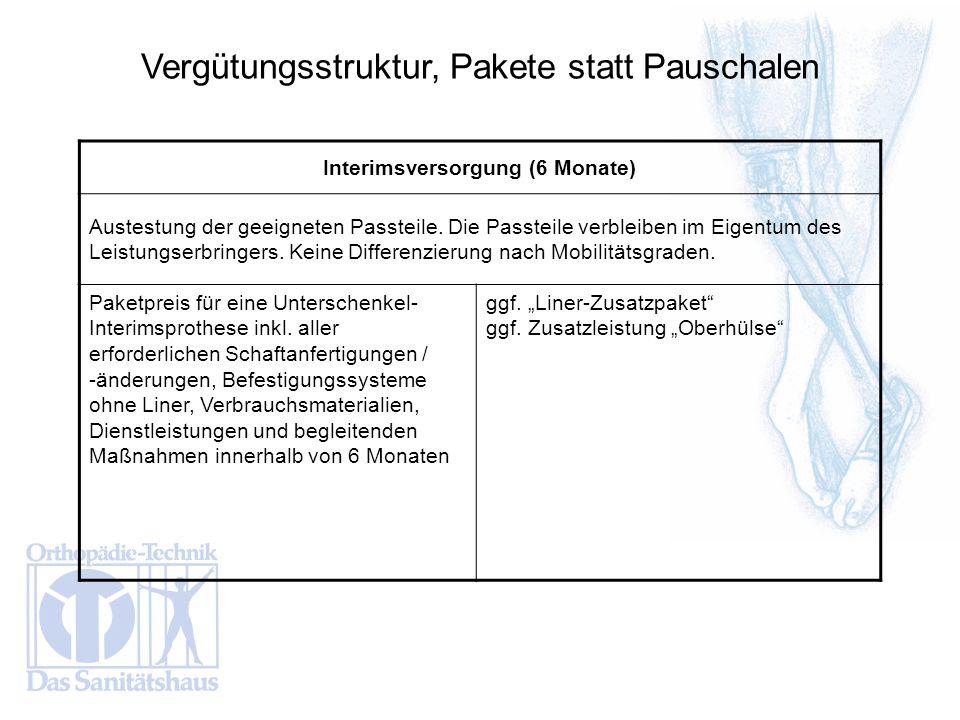 Vergütungsstruktur, Pakete statt Pauschalen Interimsversorgung (6 Monate) Austestung der geeigneten Passteile. Die Passteile verbleiben im Eigentum de