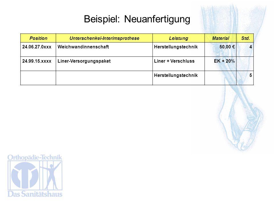 PositionUnterschenkel-InterimsprotheseLeistungMaterial Std. 24.06.27.0xxxWeichwandinnenschaftHerstellungstechnik 50,00 4 24.99.15.xxxxLiner-Versorgung