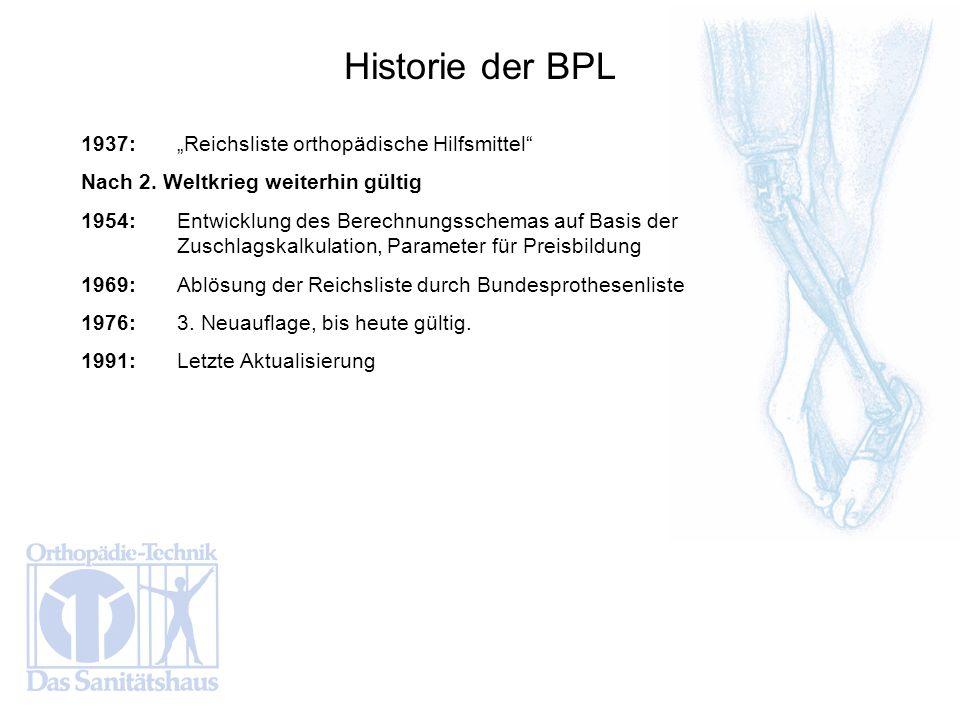1937:Reichsliste orthopädische Hilfsmittel Nach 2. Weltkrieg weiterhin gültig 1954:Entwicklung des Berechnungsschemas auf Basis der Zuschlagskalkulati