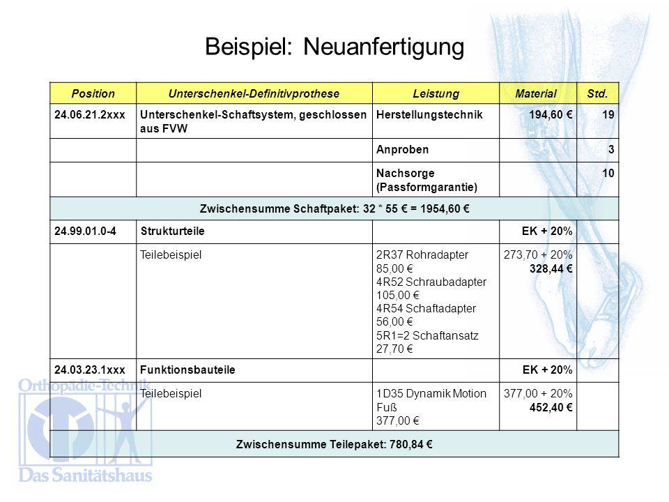 PositionUnterschenkel-DefinitivprotheseLeistungMaterial Std. 24.06.21.2xxxUnterschenkel-Schaftsystem, geschlossen aus FVW Herstellungstechnik 194,60 1