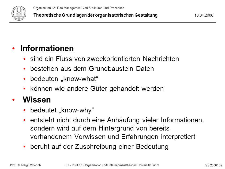 Prof. Dr. Margit Osterloh Theoretische Grundlagen der organisatorischen Gestaltung 18.04.2006 IOU – Institut für Organisation und Unternehmenstheorien