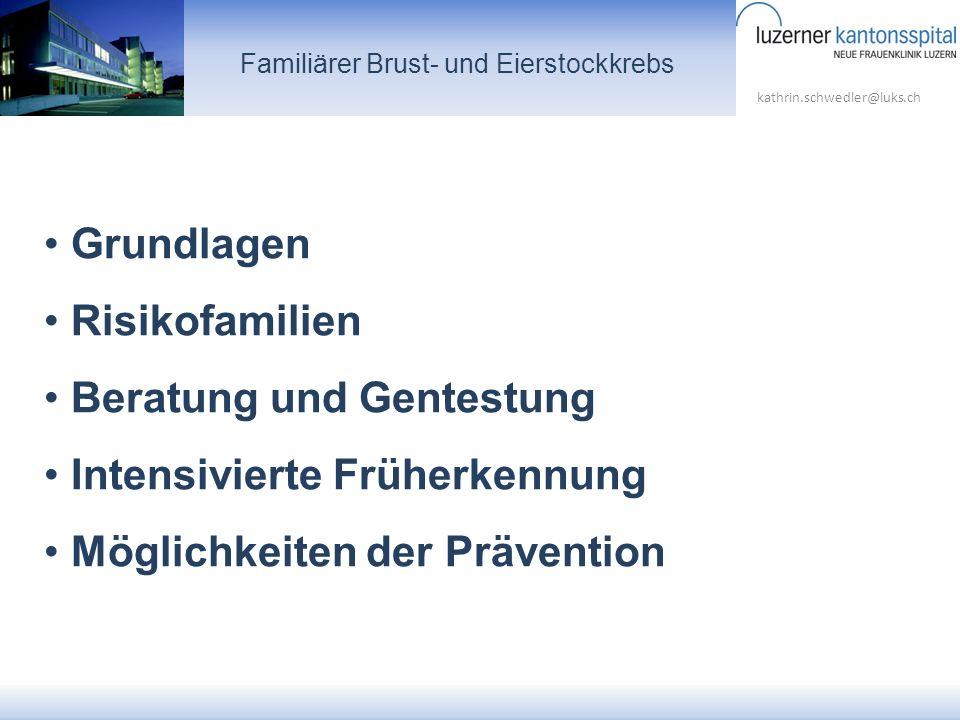 kathrin.schwedler@luks.ch Grundlagen Risikofamilien Beratung und Gentestung Intensivierte Früherkennung Möglichkeiten der Prävention Familiärer Brust-