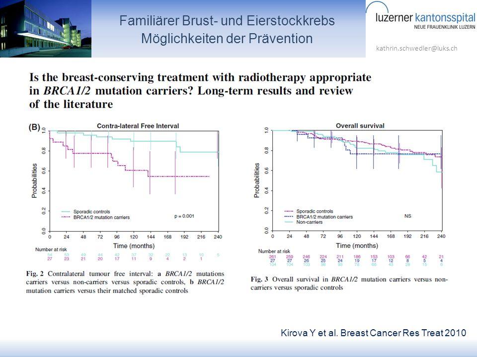 kathrin.schwedler@luks.ch Kirova Y et al. Breast Cancer Res Treat 2010 Familiärer Brust- und Eierstockkrebs Möglichkeiten der Prävention