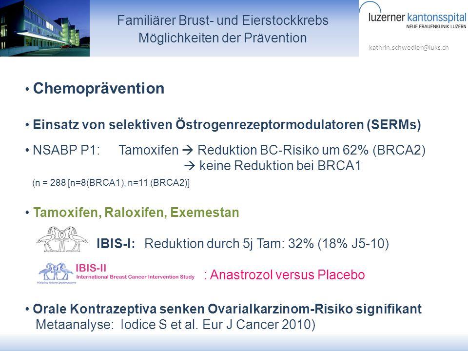 kathrin.schwedler@luks.ch Familiärer Brust- und Eierstockkrebs Möglichkeiten der Prävention Chemoprävention Einsatz von selektiven Östrogenrezeptormod