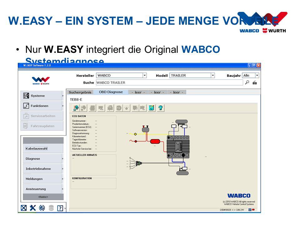 Nur W.EASY integriert die Original WABCO Systemdiagnose W.EASY – EIN SYSTEM – JEDE MENGE VORTEILE