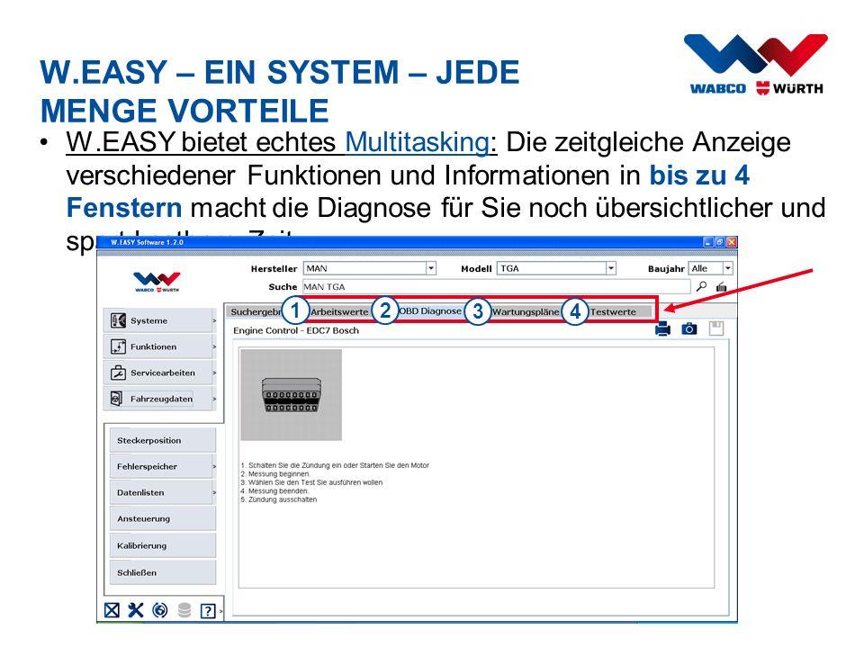 W.EASY bietet echtes Multitasking: Die zeitgleiche Anzeige verschiedener Funktionen und Informationen in bis zu 4 Fenstern macht die Diagnose für Sie