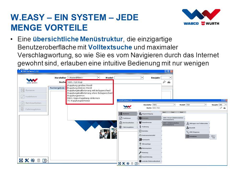 W.EASY – EIN SYSTEM – JEDE MENGE VORTEILE Eine übersichtliche Menüstruktur, die einzigartige Benutzeroberfläche mit Volltextsuche und maximaler Versch