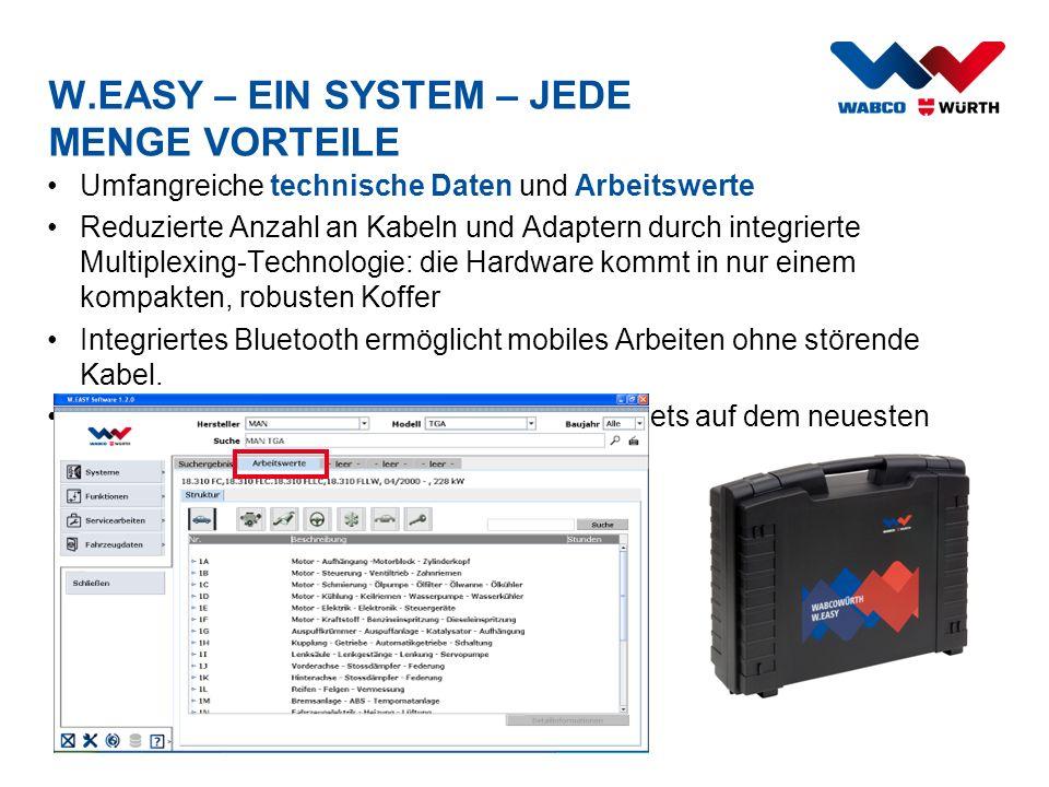 W.EASY – EIN SYSTEM – JEDE MENGE VORTEILE Umfangreiche technische Daten und Arbeitswerte Reduzierte Anzahl an Kabeln und Adaptern durch integrierte Mu