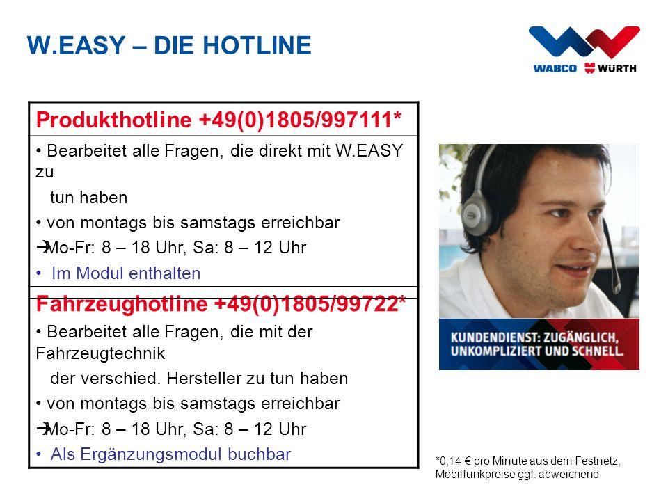 W.EASY – DIE HOTLINE Produkthotline +49(0)1805/997111* Bearbeitet alle Fragen, die direkt mit W.EASY zu tun haben von montags bis samstags erreichbar