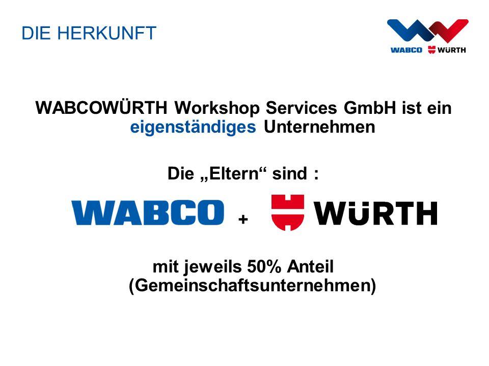 DIE HERKUNFT WABCOWÜRTH Workshop Services GmbH ist ein eigenständiges Unternehmen Die Eltern sind : + mit jeweils 50% Anteil (Gemeinschaftsunternehmen