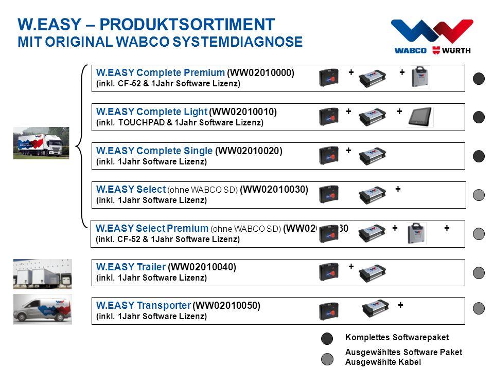 W.EASY – PRODUKTSORTIMENT MIT ORIGINAL WABCO SYSTEMDIAGNOSE W.EASY Complete Light (WW02010010) + + (inkl. TOUCHPAD & 1Jahr Software Lizenz) W.EASY Com