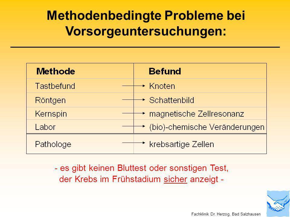 Methodenbedingte Probleme bei Vorsorgeuntersuchungen: - es gibt keinen Bluttest oder sonstigen Test, der Krebs im Frühstadium sicher anzeigt - Fachkli