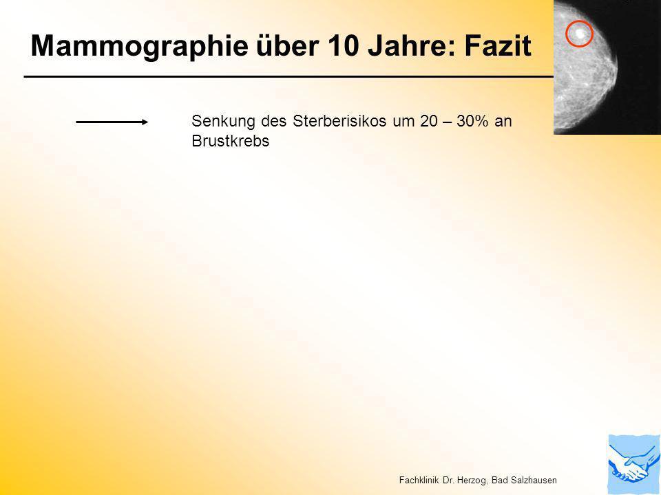 Mammographie über 10 Jahre: Fazit Senkung des Sterberisikos um 20 – 30% an Brustkrebs Fachklinik Dr. Herzog, Bad Salzhausen