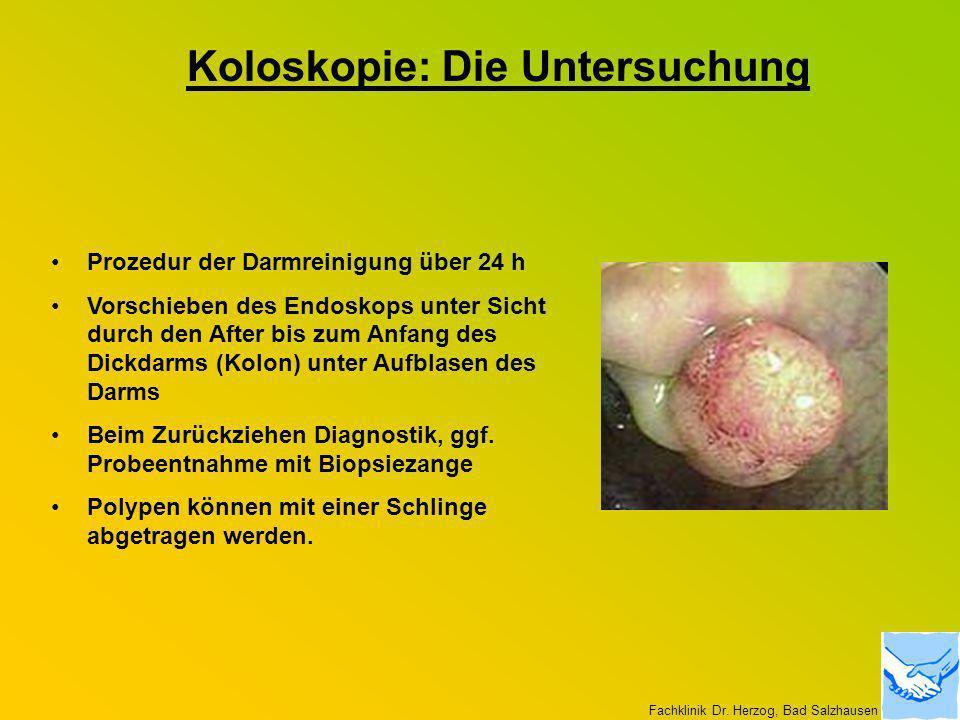 Koloskopie: Die Untersuchung Prozedur der Darmreinigung über 24 h Vorschieben des Endoskops unter Sicht durch den After bis zum Anfang des Dickdarms (