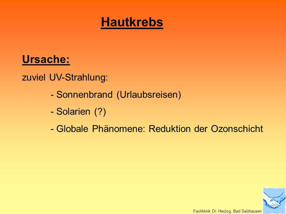 Hautkrebs Ursache: zuviel UV-Strahlung: - Sonnenbrand (Urlaubsreisen) - Solarien (?) - Globale Phänomene: Reduktion der Ozonschicht Fachklinik Dr. Her