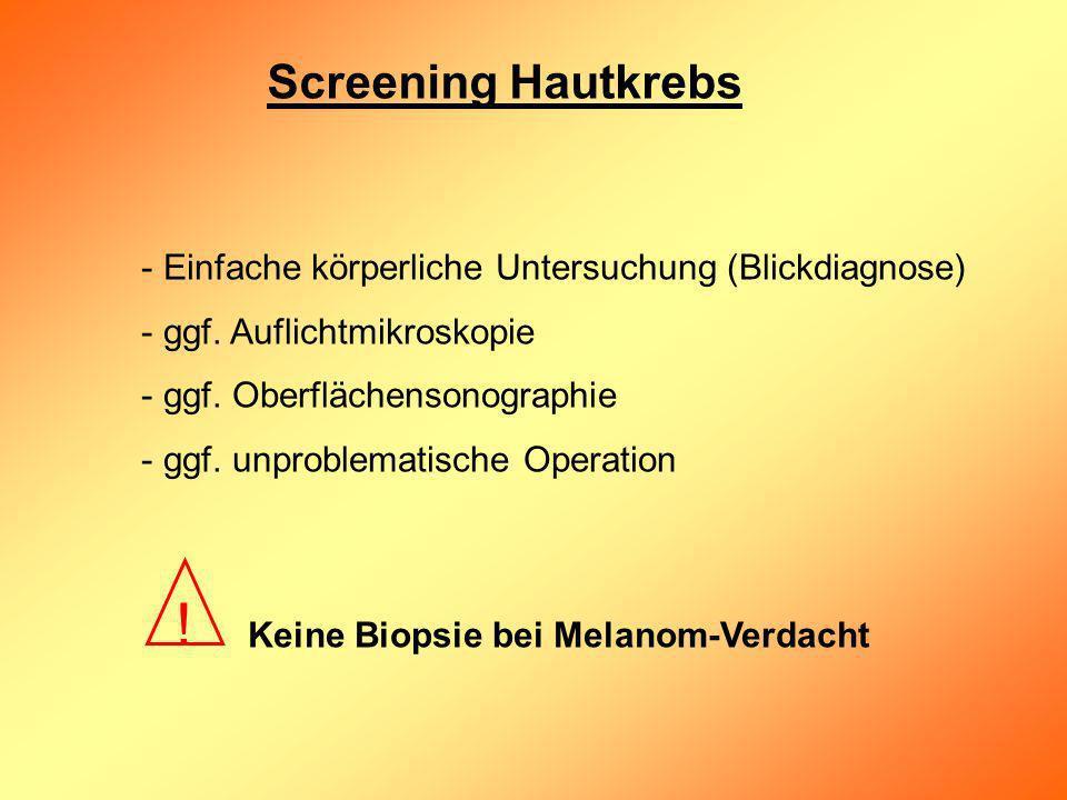 Screening Hautkrebs - Einfache körperliche Untersuchung (Blickdiagnose) - ggf. Auflichtmikroskopie - ggf. Oberflächensonographie - ggf. unproblematisc
