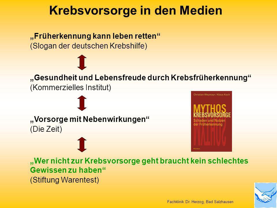 Krebsvorsorge in den Medien Fachklinik Dr. Herzog, Bad Salzhausen Früherkennung kann leben retten (Slogan der deutschen Krebshilfe) Gesundheit und Leb