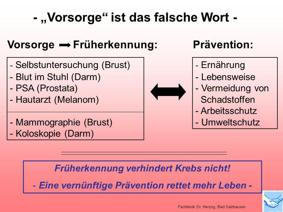Prävention:Vorsorge Früherkennung: - Ernährung - Lebensweise - Vermeidung von Schadstoffen - Arbeitsschutz - Umweltschutz - Selbstuntersuchung (Brust)