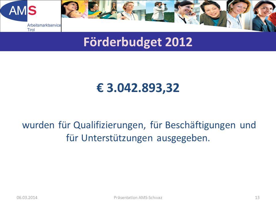 06.03.2014Präsentation AMS-Schwaz13 3.042.893,32 wurden für Qualifizierungen, für Beschäftigungen und für Unterstützungen ausgegeben. Förderbudget 201