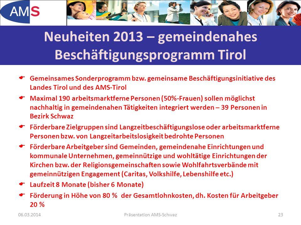 Gemeinsames Sonderprogramm bzw. gemeinsame Beschäftigungsinitiative des Landes Tirol und des AMS-Tirol Maximal 190 arbeitsmarktferne Personen (50%-Fra