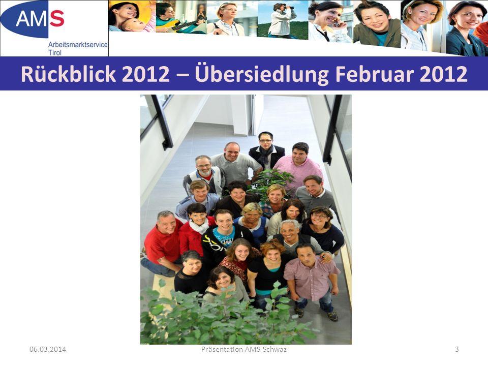 06.03.2014Präsentation AMS-Schwaz3 Rückblick 2012 – Übersiedlung Februar 2012