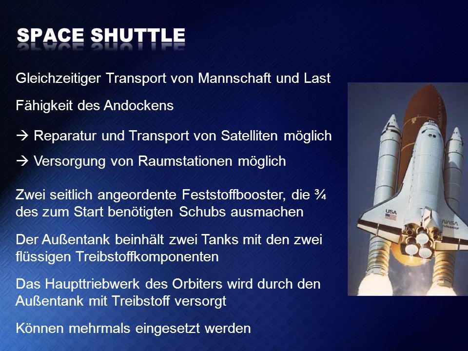 Gleichzeitiger Transport von Mannschaft und Last Fähigkeit des Andockens Reparatur und Transport von Satelliten möglich Versorgung von Raumstationen m