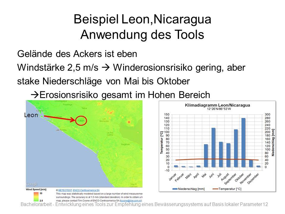Beispiel Leon,Nicaragua Anwendung des Tools Gelände des Ackers ist eben Windstärke 2,5 m/s Winderosionsrisiko gering, aber stake Niederschläge von Mai