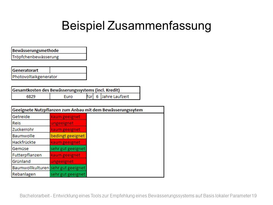 Beispiel Zusammenfassung Bachelorarbeit - Entwicklung eines Tools zur Empfehlung eines Bewässerungssystems auf Basis lokaler Parameter19