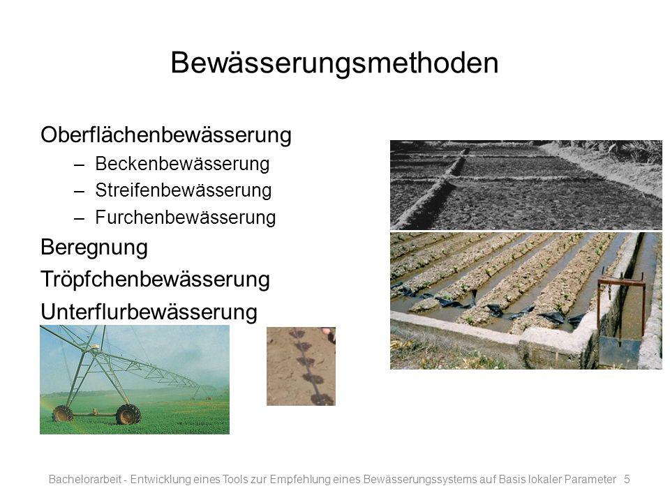 Bewässerungsmethoden Oberflächenbewässerung –Beckenbewässerung –Streifenbewässerung –Furchenbewässerung Beregnung Tröpfchenbewässerung Unterflurbewäss