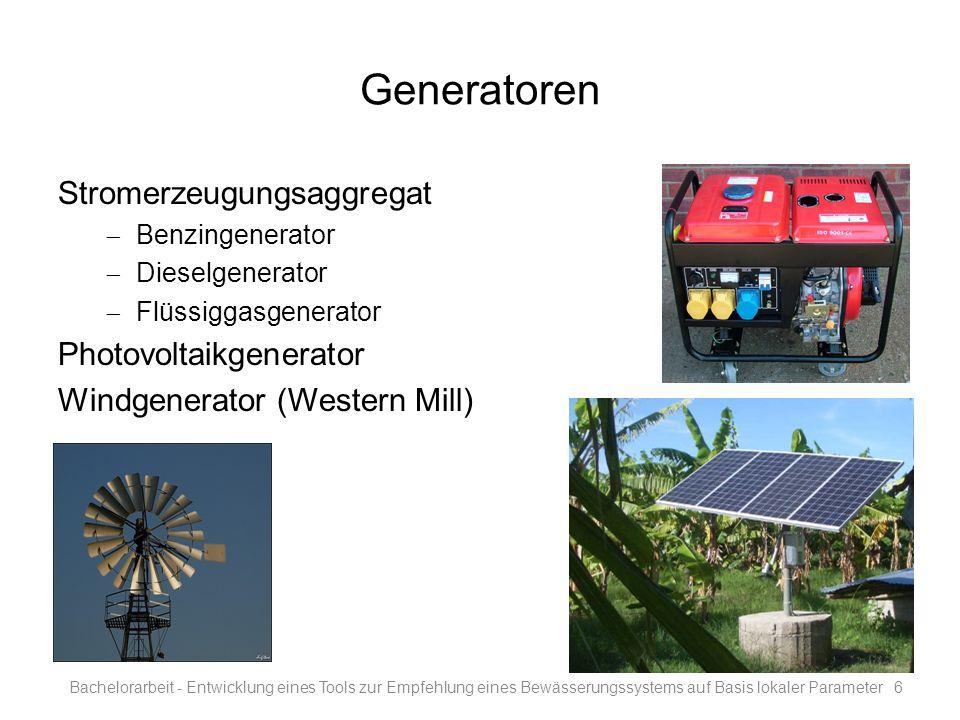 Generatoren Stromerzeugungsaggregat Benzingenerator Dieselgenerator Flüssiggasgenerator Photovoltaikgenerator Windgenerator (Western Mill) Bachelorarb