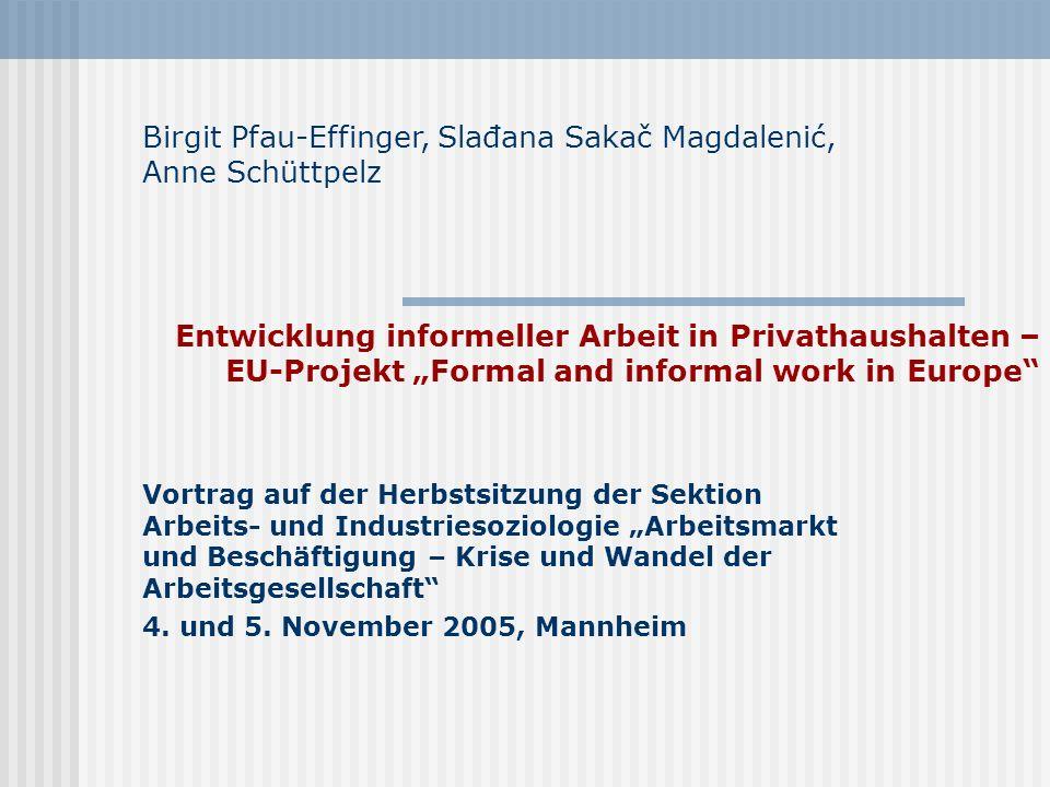 Entwicklung informeller Arbeit in Privathaushalten – EU-Projekt Formal and informal work in Europe Vortrag auf der Herbstsitzung der Sektion Arbeits-
