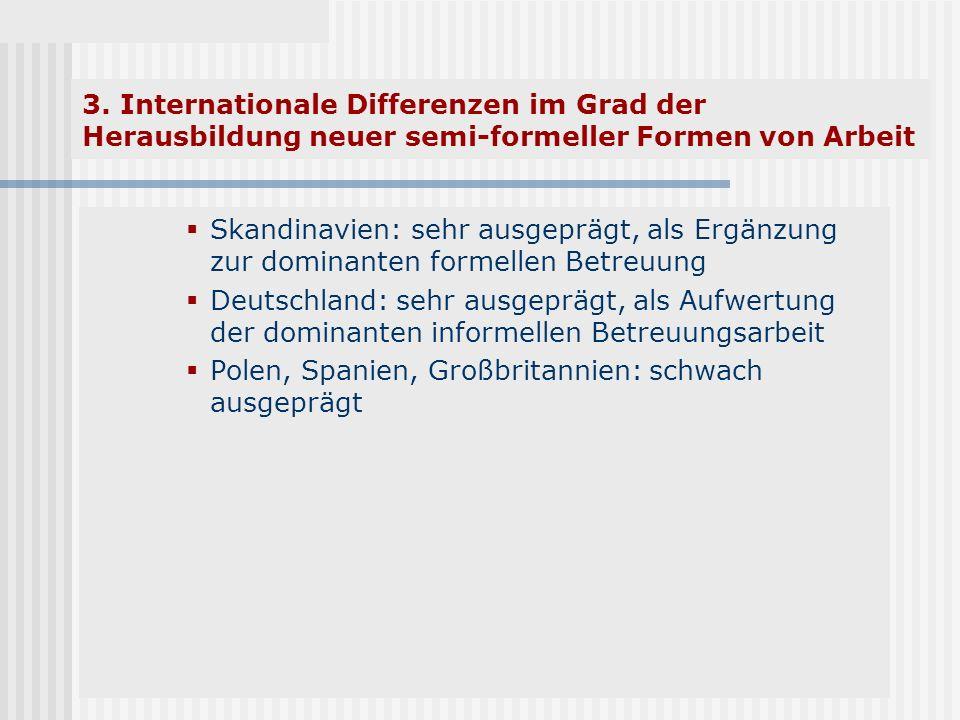 3. Internationale Differenzen im Grad der Herausbildung neuer semi-formeller Formen von Arbeit Skandinavien: sehr ausgeprägt, als Ergänzung zur domina