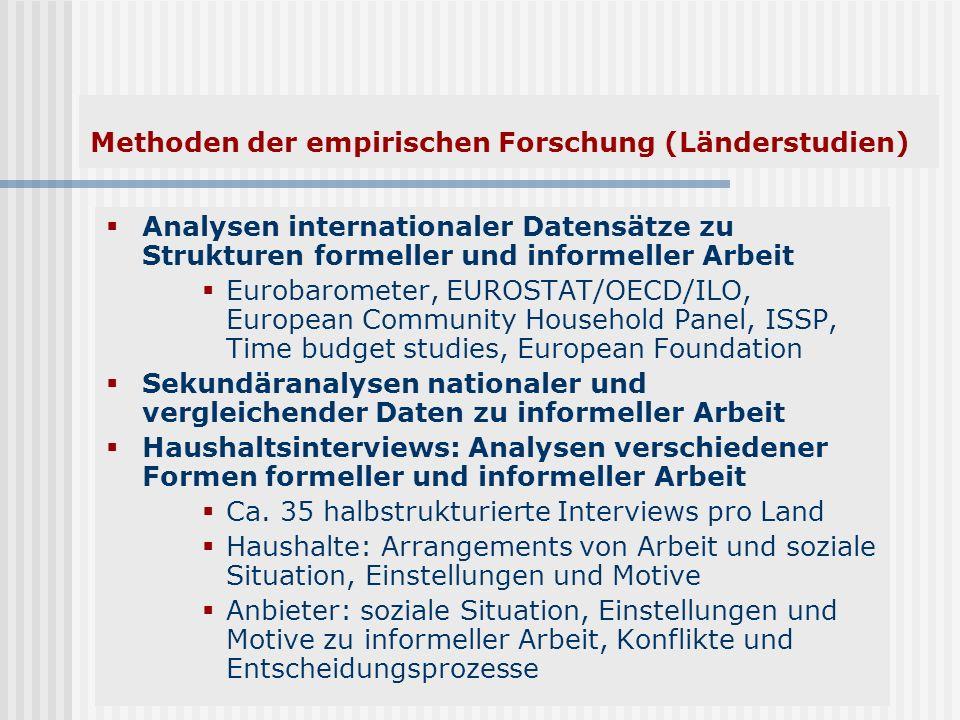 Methoden der empirischen Forschung (Länderstudien) Analysen internationaler Datensätze zu Strukturen formeller und informeller Arbeit Eurobarometer, E