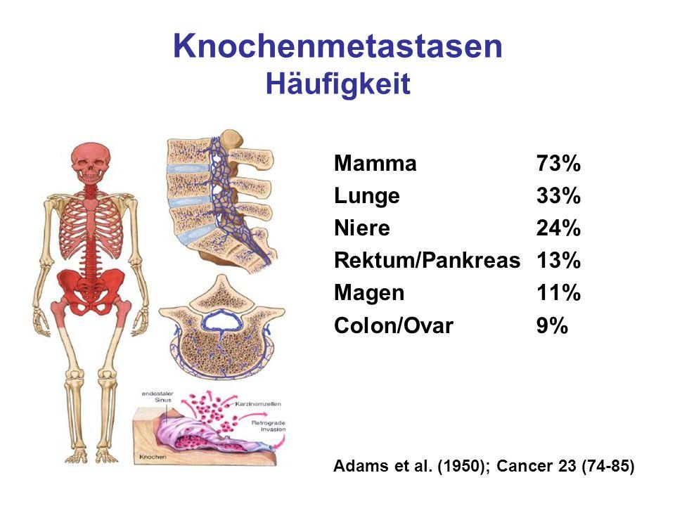 Knochenmetastasen Häufigkeit Mamma73% Lunge33% Niere24% Rektum/Pankreas13% Magen11% Colon/Ovar9% Adams et al. (1950); Cancer 23 (74-85)