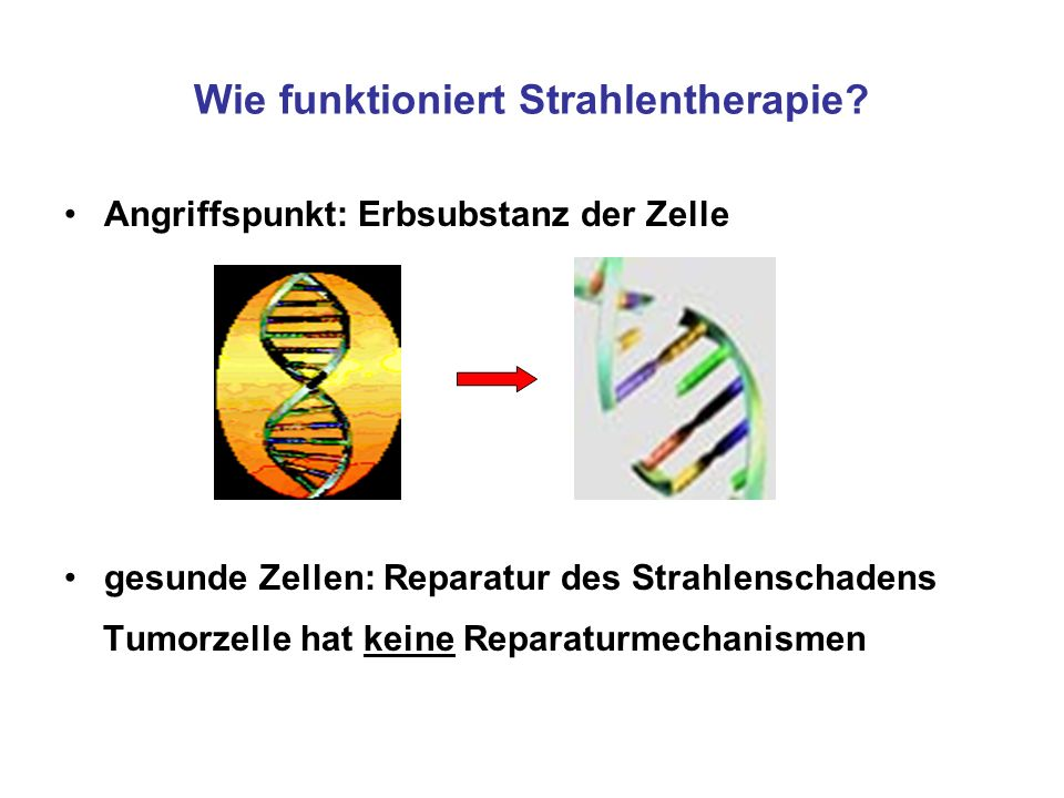Wie funktioniert Strahlentherapie? Angriffspunkt: Erbsubstanz der Zelle gesunde Zellen: Reparatur des Strahlenschadens Tumorzelle hat keine Reparaturm
