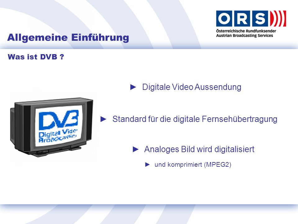 DVB-T Empfang Störfaktoren: Frequenzgang der Empfangsantenne Gebäudedämpfung (Wand, Glasscheiben bedampft) Störbeeinflussungen Man Made Noise (MMN) PC, Vorschaltgeräte, GSM, DECT etc.
