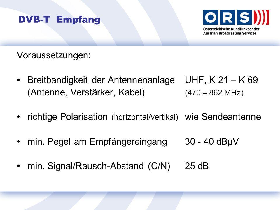 DVB-T Empfang Voraussetzungen: Breitbandigkeit der AntennenanlageUHF, K 21 – K 69 (Antenne, Verstärker, Kabel) (470 – 862 MHz) richtige Polarisation (horizontal/vertikal) wie Sendeantenne min.