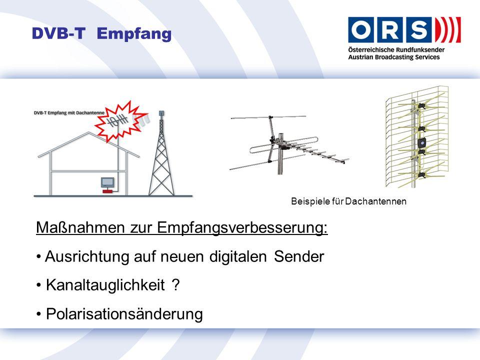 DVB-T Empfang Beispiele für Dachantennen Maßnahmen zur Empfangsverbesserung: Ausrichtung auf neuen digitalen Sender Kanaltauglichkeit .