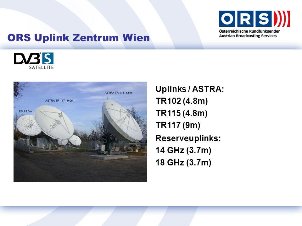 ORS Uplink Zentrum Wien Uplinks / ASTRA: TR102 (4.8m) TR115 (4.8m) TR117 (9m) Reserveuplinks: 14 GHz (3.7m) 18 GHz (3.7m)