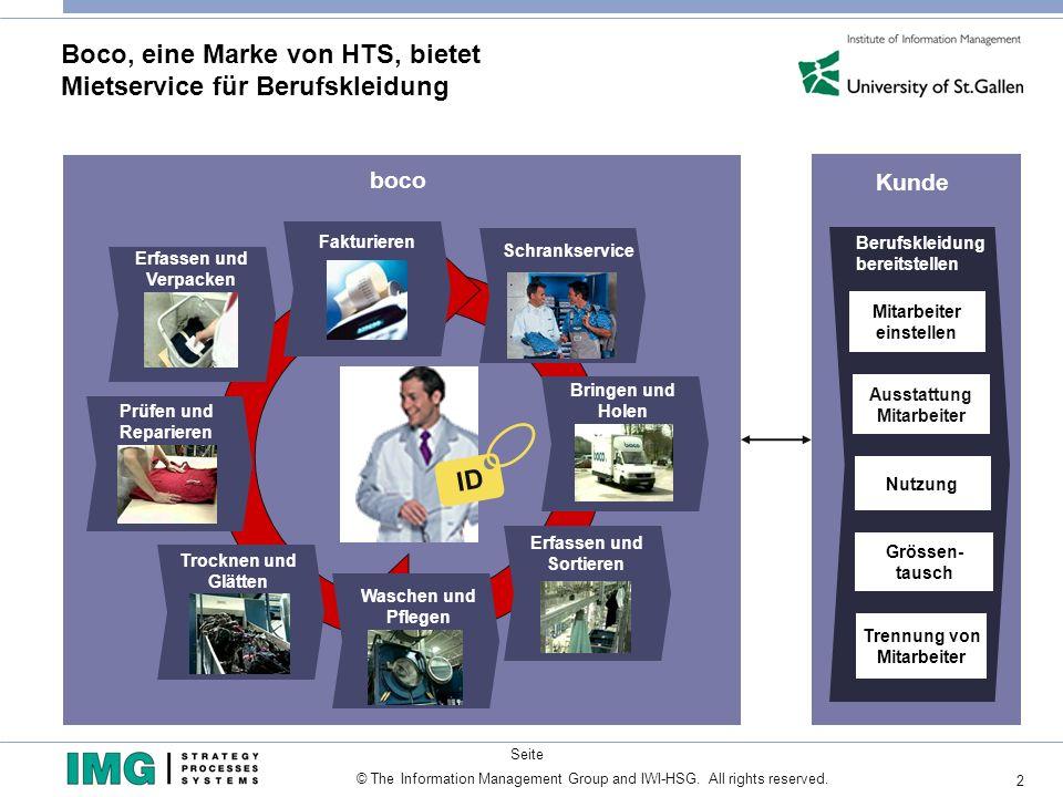 2 Seite © The Information Management Group and IWI-HSG. All rights reserved. Boco, eine Marke von HTS, bietet Mietservice für Berufskleidung Ausstattu