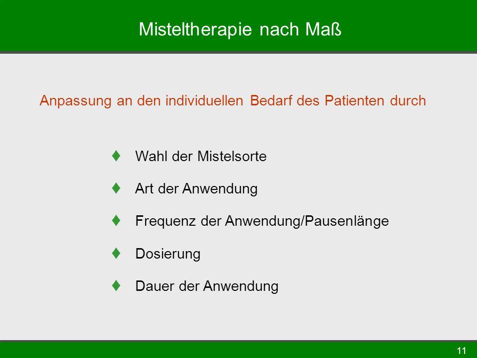 11 Misteltherapie nach Maß Anpassung an den individuellen Bedarf des Patienten durch Wahl der Mistelsorte Art der Anwendung Frequenz der Anwendung/Pau