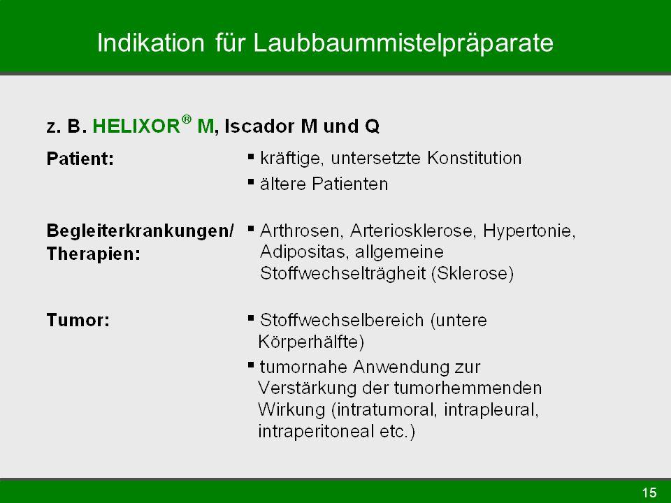 15 Indikation für Laubbaummistelpräparate