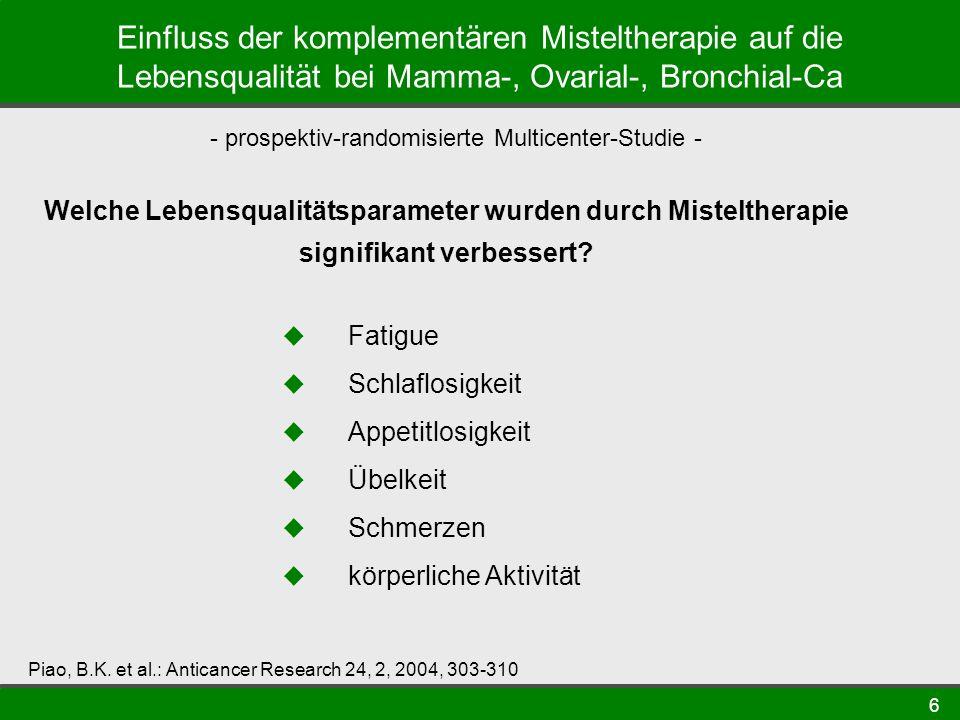 6 Einfluss der komplementären Misteltherapie auf die Lebensqualität bei Mamma-, Ovarial-, Bronchial-Ca - prospektiv-randomisierte Multicenter-Studie - Piao, B.K.