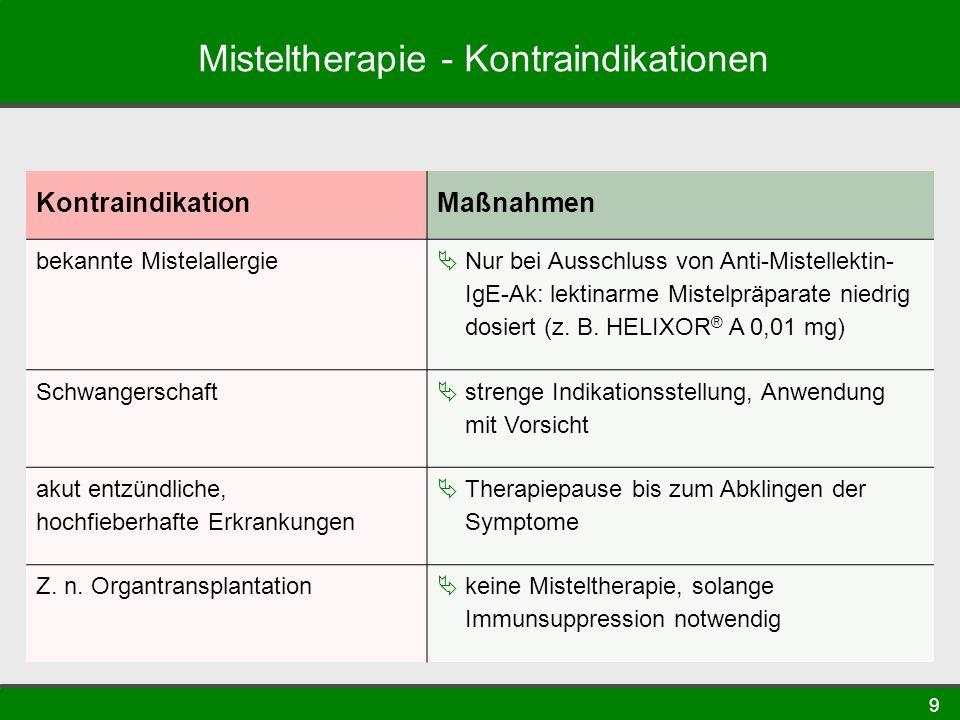 9 Misteltherapie - Kontraindikationen KontraindikationMaßnahmen bekannte Mistelallergie Nur bei Ausschluss von Anti-Mistellektin- IgE-Ak: lektinarme Mistelpräparate niedrig dosiert (z.