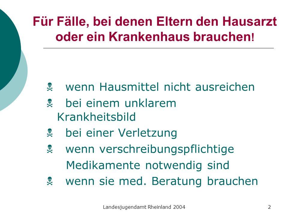 Landesjugendamt Rheinland 20042 Für Fälle, bei denen Eltern den Hausarzt oder ein Krankenhaus brauchen ! wenn Hausmittel nicht ausreichen bei einem un